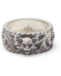 Gucci Tiger And Gg Engraved Sterling Silver Ring - Metallic