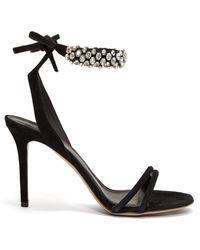 Isabel Marant Alrina Crystal-embellished Suede Sandals - Black