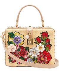 Dolce & Gabbana クリスタル ウィッカーボックスバッグ - ナチュラル