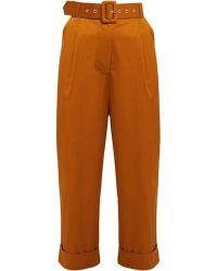 Isa Arfen High Rise Cotton Blend Trousers - Brown