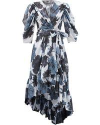 Alexandre Vauthier フローラル コットンボイル ラップドレス - ブルー