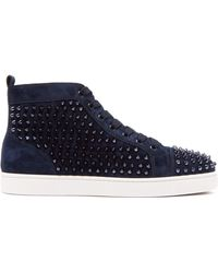 Christian Louboutin - Louis Spiked Leather High Top Trainers - Lyst