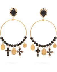 Dolce & Gabbana - Beaded Charm-embellished Hoop Clip Earrings - Lyst