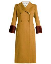 Fendi - Shearling-trimmed Wool Coat - Lyst