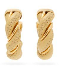 Bottega Veneta Twisted Leather & 18kt Gold-plated Hoop Earrings - Natural