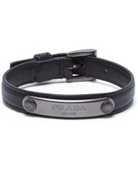 Prada - Logo Plaque Saffiano Leather Bracelet - Lyst