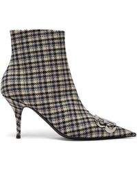 Balenciaga - Logo-embellished Checked Ankle Boots - Lyst