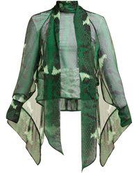 Petar Petrov Barry Snake-print Silk Blouse - Green