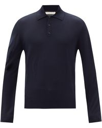 The Row ディエゴ メリノウール ロングスリーブポロシャツ - ブルー
