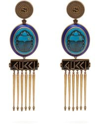 Gucci - Gg Scarab And Tassel Drop Clip Earrings - Lyst