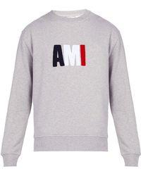AMI - Embroidered Logo Cotton Sweatshirt - Lyst