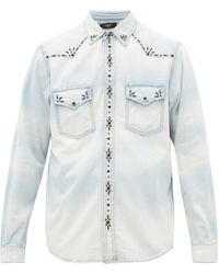 Amiri Studded Denim Western Shirt - Blue