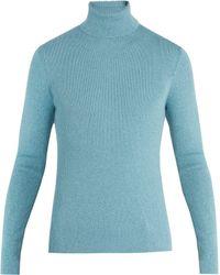 Gucci Roll-neck Ribbed-knit Wool-blend Jumper - Blue