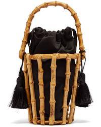 Glorinha Paranagua Lineia Satin And Bamboo Basket Bag - Black