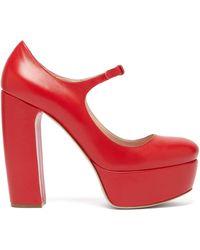 Miu Miu Leather Platform Mary Jane Pumps - Red