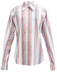 Bianca Saunders Jacquard-striped Cotton-blend Poplin Shirt - White