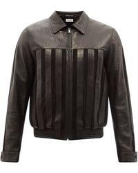 Saint Laurent ストライプ レザージャケット - ブラック