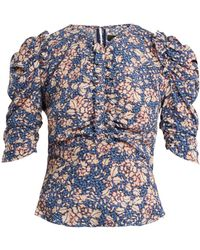 Isabel Marant - Brizo Ruffle-trimmed Floral-print Stretch-silk Top - Lyst