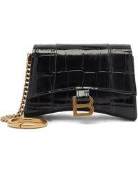 Balenciaga Porte-cartes en cuir effet crocodile Hourglass - Noir
