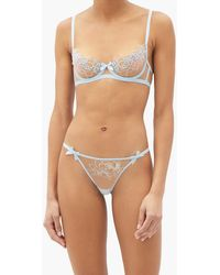 Agent Provocateur Lindie Beaded Floral-embroidered Mesh Thong - Blue