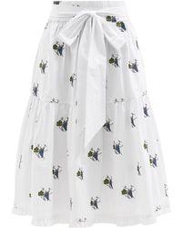 Shrimps Coco Climbing Grapes-embroidered Cotton Midi Skirt - White