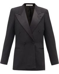 Umit Benan B+ Double-breasted Satin-lapel Twill Tuxedo Jacket - Black