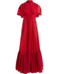 Giambattista Valli Robe de soirée en crêpe de Chine de soie - Rouge