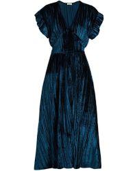 MASSCOB - Deep V-neck Velvet Midi Dress - Lyst