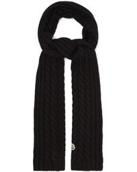 Moncler ケーブルニット ウールスカーフ - ブラック