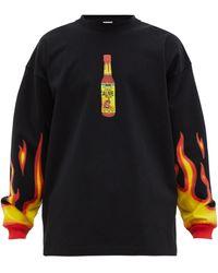 Vetements Pull en jersey à imprimé sauce piquante - Noir