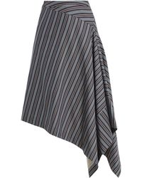 Palmer//Harding | Draped-front Striped Cotton-blend Skirt | Lyst