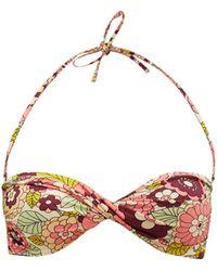 Dodo Bar Or Haut de bikini bandeau à imprimé floral Kayla - Rose