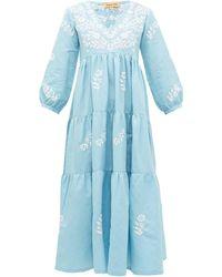Muzungu Sisters Frangipani Floral-embroidered Tiered Dress - Blue