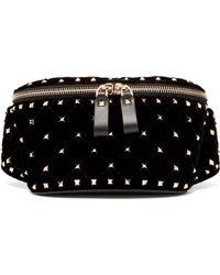 Valentino - Rockstud Spike Quilted Velvet And Leather Belt Bag - Lyst