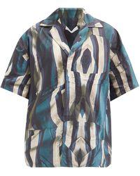 Bianca Saunders Striped Cotton-poplin Shirt - Blue