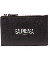 Balenciaga ファスナー グレインレザーカードケース - ブラック