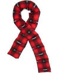 7 Moncler Frgmt Hiroshi Fujiwara Écharpe en coton à carreaux et logo matelassée - Rouge