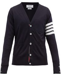 Thom Browne Stripe-Sleeved Wool Cardigan - Blue