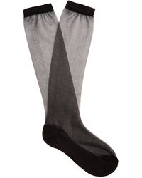 Raey Sheer Silk-blend Socks - Black