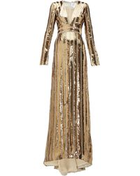 Galvan London Stardust Plunge-neck Sequinned Gown - Metallic
