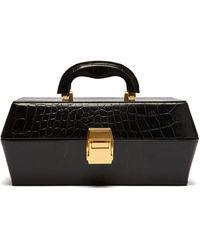 STAUD Lincoln Crocodile-effect Leather Box Bag - Black