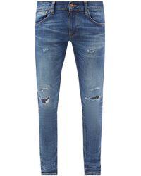 Nudie Jeans タイト テリー ダメージオーガニックコットンジーンズ - ブルー