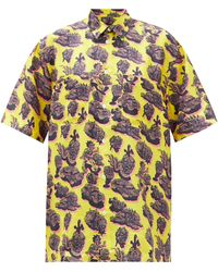 Stella McCartney Psychedelic-print Silk-twill Short-sleeved Shirt - Yellow
