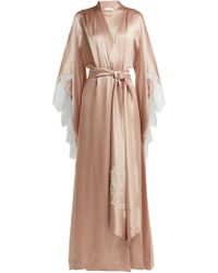 Carine Gilson - Lace-embroidered Silk-satin Robe - Lyst