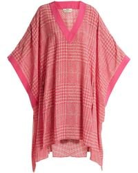 Fendi - Prince Of Wales-checked Print Silk-crepe Kaftan - Lyst