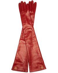 Valentino Vロゴ レザーグローブ - レッド