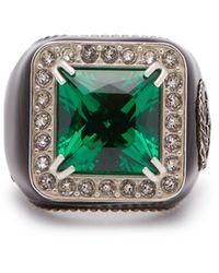 Gucci Chevalière à ornements cristaux - Vert