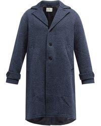 Etro ヘリンボーンウール シングルコート - ブルー