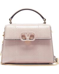 Valentino Garavani V-sling Mini Snakeskin Cross-body Bag - Natural