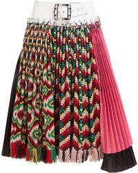 Chopova Lowena Geometric Pleated Wool And Ripstop Midi Skirt - Red